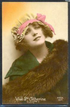 JG038-Sainte-CATHERINE-ART-DECO-FEMME-FASHION-LADY-LACE-CAP-BONNET-PHOTO-dART