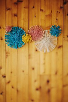 Love the combo of these two! diy embroidery hoop and yarn wall decor, or backdrop. #wedding #hoop  Check out www.planningyourweddingforless.com