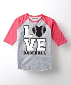 Look what I found on #zulily! Hot Pink 'Love Baseball' Raglan Tee - Toddler & Kids #zulilyfinds