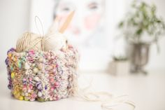 Learn to Make This Boho Storage Basket with Chunky Yarn — Original Knitting Pattern from Flax & Twine