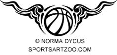 Basketball Scrolly Wings by SportsArtZoo #basketball