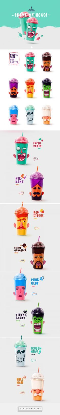 Illustration, graphic design and packaging for Shake my head on Behance by Rustam Usmanov Moscow, Russian Federation curated by Packaging Diva PD. Let's have a milkshake for the packaging smile file : )