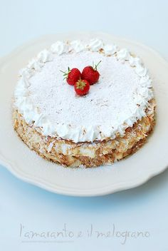 millefoglie cake with chantilly cream and strawberries