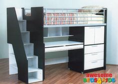 A on top C running adjacent out of desk area. Dig the black and white. The Single Evan Loft Bunk is the perfect all in one solution for your kids room. The bed features a single bed, easy walk up stairs with storage, good size cupboard with shelves a full size desk