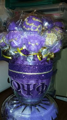 Cake Pop Vase for Omega Psi Phi-For the dog in you!!!! Roo!!!! #chocolateblossomsediblecreations on FB #sweetbars #dessertbuffets #sweettables #sweetbaskets #cakepops #cakepopbouquet #OmegaPsiPhi #OmegaPsiPhidesserts #chocolatedogs #chocolatepops