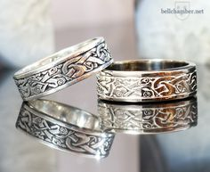 Celtic Wolfhound rings in 14K white gold and antiqued sterling silver.