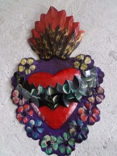"""11"""" Mexican Folk Art Punched Tin Repousse Wall Ornament Flame Heart Crown Thorns  
