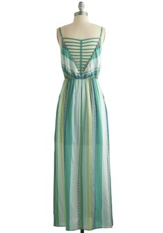 Lower Haight Lady Dress. You mesh well with the eclectic residents of San Franciscos Lower Haight in this delightfully bohemian maxi dress. #green #modcloth