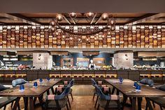 Minimalist House Design, Minimalist Home, Restaurant Kitchen, Restaurant Design, Hotels And Resorts, Beach Resorts, Resturant Interior, Food Court Design, Tan Kitchen