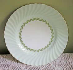Minton Plate. Cake Plate or Dinner Plate Replacement with Cheviot Green Laurel Garland. S503.  Bone China, England 1941 - 1974 by AnythingDiscovered on Etsy