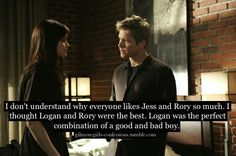 Rory and Logan together! I hate Rory and Jess as a couple. Gilmore Girls Logan, Rory And Logan, Team Logan, Gilmore Girls Quotes, Lorelai Gilmore, Best Tv Shows, Best Shows Ever, Movies And Tv Shows, Favorite Tv Shows