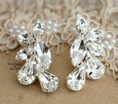 Statement Silver Swarovski Crystal earring bridal by iloniti, $71.00