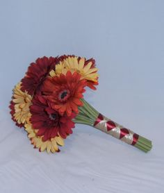 Wedding Bouquet Images Gerber Daisies   ... Autumn Bridal Bouquet w/ Silk Red, Orange, and Yellow Gerber Daisies