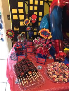 Spider-Man Theme Party Candy table (left side) By: Christina L.