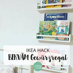 Aus dem IKEA BEKVÄM Gewürzregal kann man tolle Bücherregale für Kinder, Kosmetikregale oder Garderoben selber machen - Tolle IKEA Hacks und kreative Ideen.