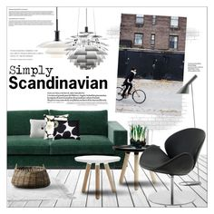 Green Sofa 3 by szaboesz on Polyvore featuring interior, interiors, interior design, home, home decor, interior decorating, Louis Poulsen, Serena & Lily, Marimekko and HAY