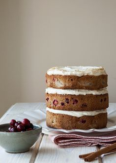 Poached Pear and cranberry cake