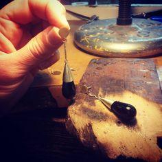Earrings #onix #silver #gold