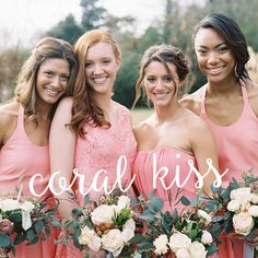 The happiest bridesmaids are the prettiest bridesmaids ❤️‍ Keep your bridal brigade smiling with gorgeous gowns in Coral Kiss! Classic Wedding Dress, Chic Wedding, Dream Wedding, Wedding Day, Wedding Prep, Wedding Stuff, Vintage Bridesmaid Dresses, Bridesmaids, Wedding Dresses