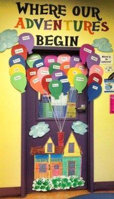 Balloon flanked preschool door