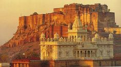 Jaswant Thada in front of Mehrangarh Fort Jodhpur Rajasthan