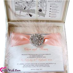 Blush feather Wedding Invitations in Thai silk boxes £24.95. With blush pink satin & vintage cluster. A little sample we're working on for a beautiful bride from UAE. Luxury wedding invitations!