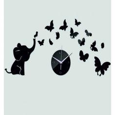 Moderné nalepovacie hodiny sloník a motýlik , farba čierna .
