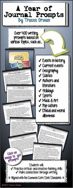 A Year of Journal Prompts - Loads of mini-nonfiction passages students can write about. Students can choose from these prompts for a variety of writing assignments. Writing Classes, Writing Lessons, Teaching Writing, Writing Ideas, Writing Services, Common Core Writing, Common Core Standards, Teaching Activities, Teaching Resources