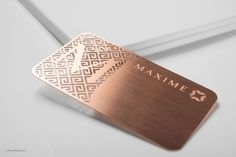 Luxury Rose Gold Metal Business Card With Brushed Finishing - Maxime Business Card Maker, Business Cards Layout, Metal Business Cards, Luxury Business Cards, Elegant Business Cards, Business Card Design, Visiting Card Design, Vip Card, Bussiness Card