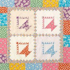 Surround basket blocks and a chain block with a scrappy, pieced border.