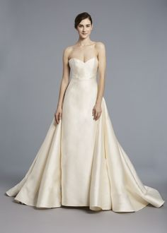 RADZIWILL  - Anne Barge, Spring 2018 | Strapless sheath wedding dress architecturally seamed with an attached overskirt of silk mikado