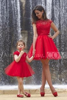 US$83.90-Lovely Red Lace Mother and Daughter Dress Tulle Short Cocktail Dress/ Red Prom Dress with Sleeves. http://www.doriswedding.com/lovely-red-lace-mother-and-daughter-dress-tulle-short-cocktail-dress-p319272.html. As a global online dress shopping destination, doriswedding.com selected the best prom dresses, party dresses, cocktail dresses, formal dresses, maxi dresses, evening dresses and dresses for teens such as sweet 16, graduation and homecoming. #DorisWedding.com