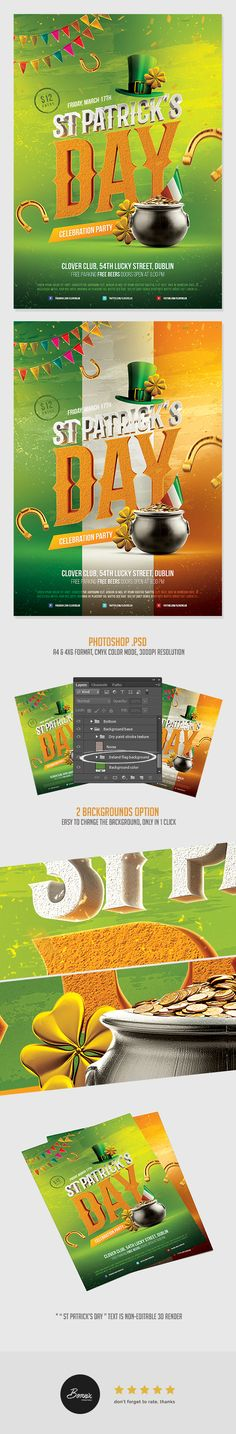 Amazing flyer template for Photoshop, perfect to promote your Saint Patrick's Day party or celebration. Fully editable and very easy to use. Available in 2 formats, A4 & 4×6 PSD flyer. Download template here https://graphicriver.net/item/saint-patricks-day-flyer/19550933?ref=bornx #graphicriver #envato #adobe #photoshop #flyer #poster #psd #template #download #stpatricksday #stpatrick #design #ads #advertisement #advertising #ireland #irish #party #celebration #clover #lucky #symbol