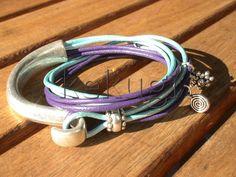 women purples blues leather bracelet sterling silver by kekugi, $26.00