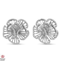Ebay NissoniJewelry presents - Ladies Flower Diamond Earrings in 14K White Gold with 1.99CT Diamonds    Model Number:UB8088EW    http://www.ebay.com/itm/Ladies-Flower-Diamond-Earrings-in-14K-White-Gold-with-1.99CT-Diamonds/221630358171