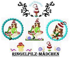 10x10 Stickdatei  ♥Ringelpilzmädchen♥  von SewDreams - Nähträume zum Kaufen auf DaWanda.com