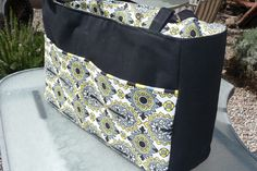DIY Diaper Bag with Divider ~ You can carry your stuff and baby's stuff, all in one bag. It's a big one, measuring about 19″ long, 12″ tall and 6″ wide.