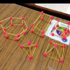 3D shapes with spaghetti and play dough
