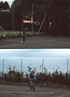 George Harrison and Bob Dylan playing tennis in 1969.