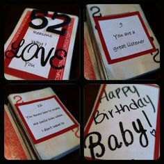 """My """"52 Reason Why I Love You"""" book for my boyfriends Birthday! It was so much fun to make!"""