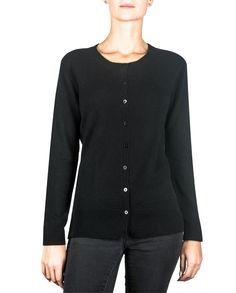 Damen Kaschmir Strickjacke Cardigan Rundhals schwarz front Sweaters, Fashion, Jackets, Cast On Knitting, Black, Moda, Fashion Styles, Fasion, Sweater
