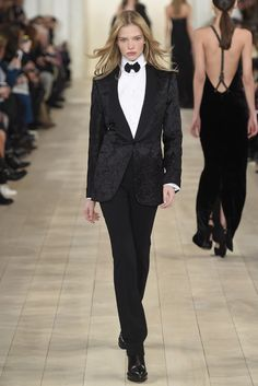 Ralph Lauren RTW Fall 2015 - notice dress on right with rear braces
