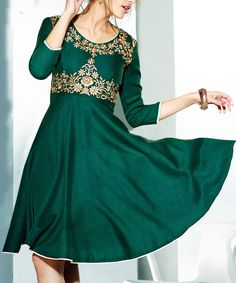 Look at this Chiro's Dark Green Embroidered Pashmina-Blend A-Line Dress on #zulily today!