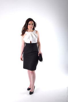 Robe Couture en soie Black & White