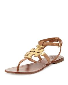 Tory Burch Phoebe Leather Flat Sandal, Tan/Gold