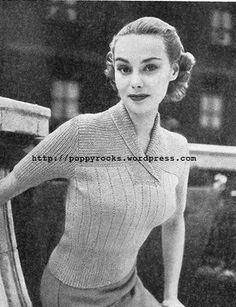 The Vintage Pattern Files: 1950's Knitting - Jumper will Roll-Collar