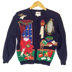 Vintage 90s Victorian Granny Christmas Tacky Ugly Cardigan Sweater