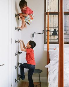 makeshift climbing wall!              Susanna - This would be so fun in your spare bedroom - all the way up to the alcove.