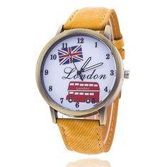 Denim Union Flag & London Bus Watch