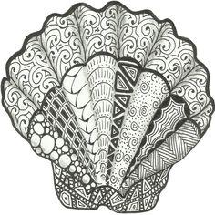 Scallop Seashell Art Decorative Beach Themed Doodle Art Print by ...